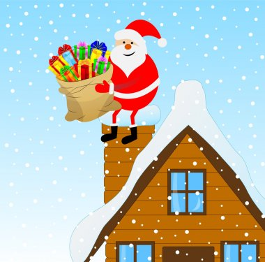 Santa Claus sitting on a pipe of a wooden house with a bag of gi