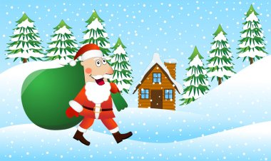 Santa Claus is coming with a sack of gifts on the winter forest