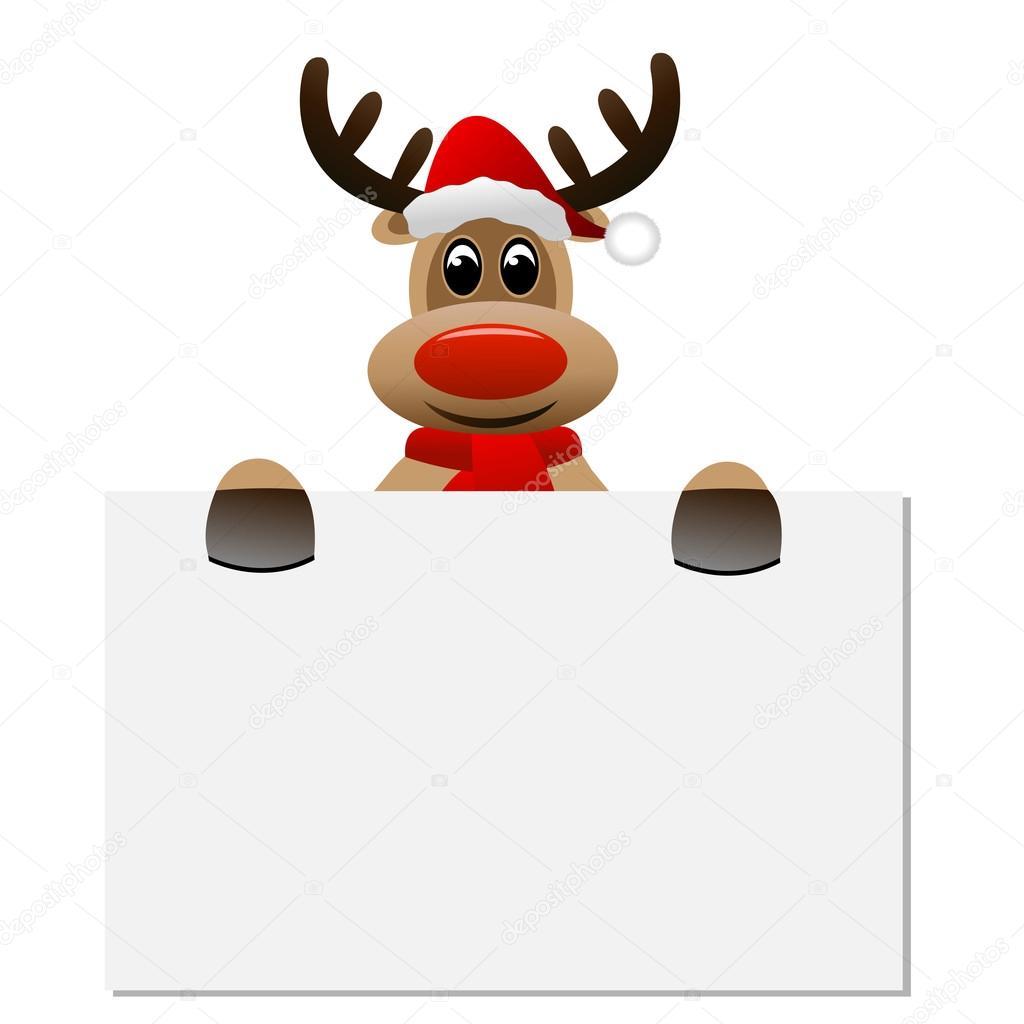 lustige rentiere weihnachten hut h lt einen leeren banner. Black Bedroom Furniture Sets. Home Design Ideas