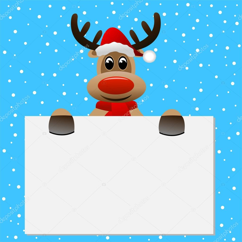 1544bcfd86581 funny reindeer Christmas hat holding a blank banner — Stock Vector ...