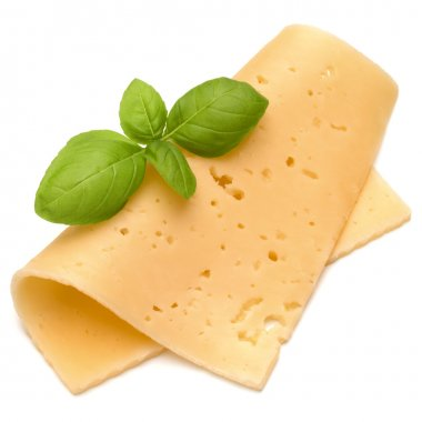 cheese slice and basil herb leaves