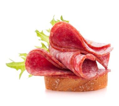 Sandwich with salami sausage