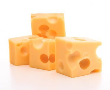Swiss cheese cubes  isolated on white background cutout stock vector