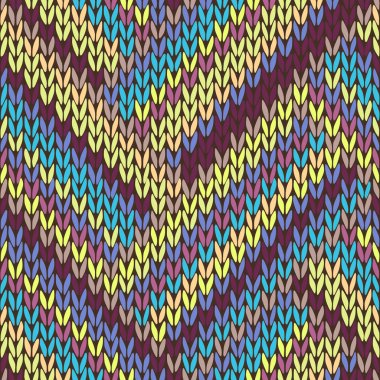Knit Seamless Multicolor Striped Pattern. Blue Yellow Pink Vinou