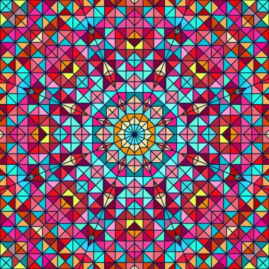 Abstract Colorful Digital Decorative Flower Star. Geometric Cont