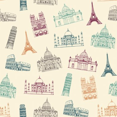 Famous landmarks of world pattern, seamless background with attractions