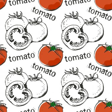 Tomatoes hand drawn seamless pattern