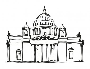 Hand drawn Saint Isaac's Cathedral in Saint Petersburg, Russia. Attractions of the world, vector illustration clip art vector