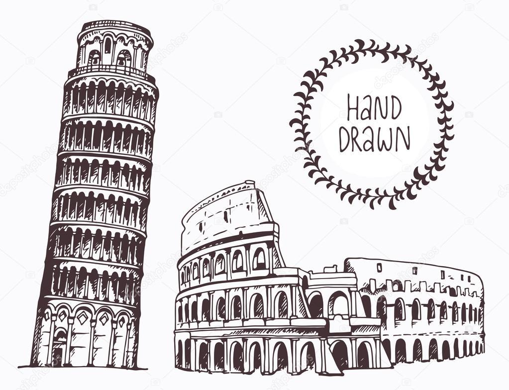 Mano Disegnato Torre Di Pisa E Colosseo