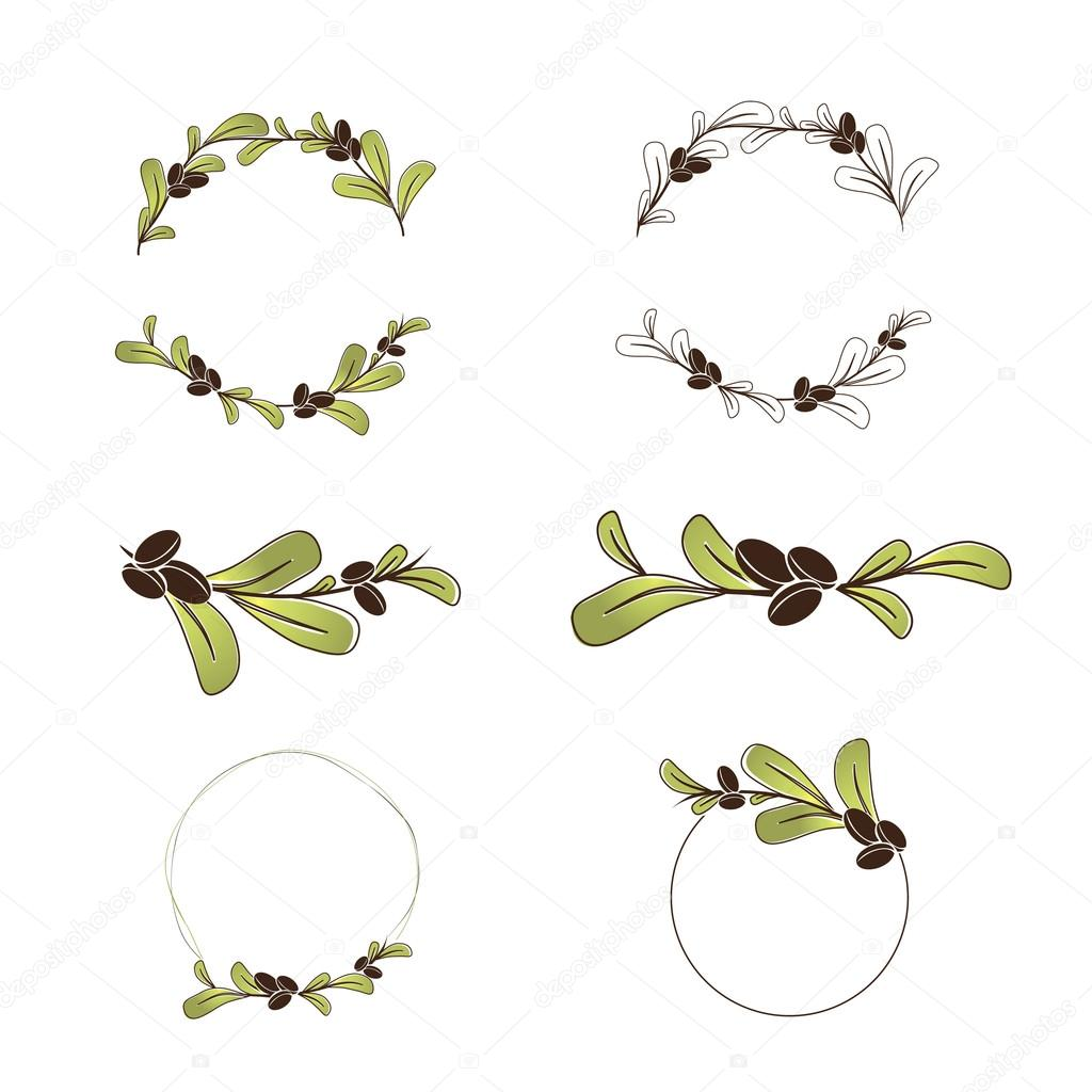 Olive or Argan Oil Logo Design Set