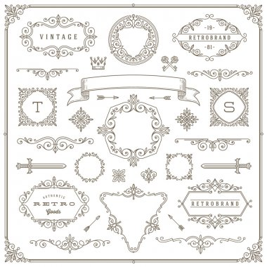 Set of vintage design elements - flourishes and ornamental frames, border, dividers, banners and other heraldic elements for logo, emblem, heraldry, greeting, invitation, page design, identity design, shop, store, restaurant, boutique, hotel and etc.