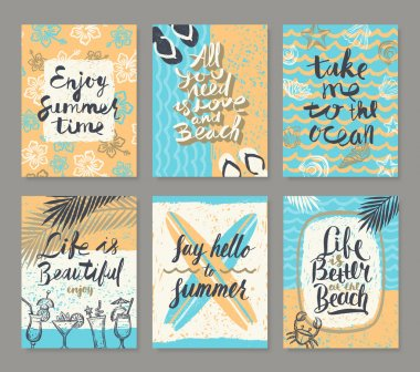 Vector set os summer holidays and tropical vacation hand drawn posters or greeting card with handwritten calligraphy quotes,  words and phrases.