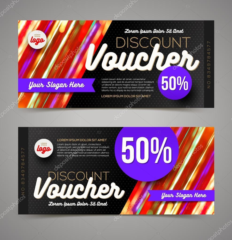 discount voucher template multicolor bright design vector