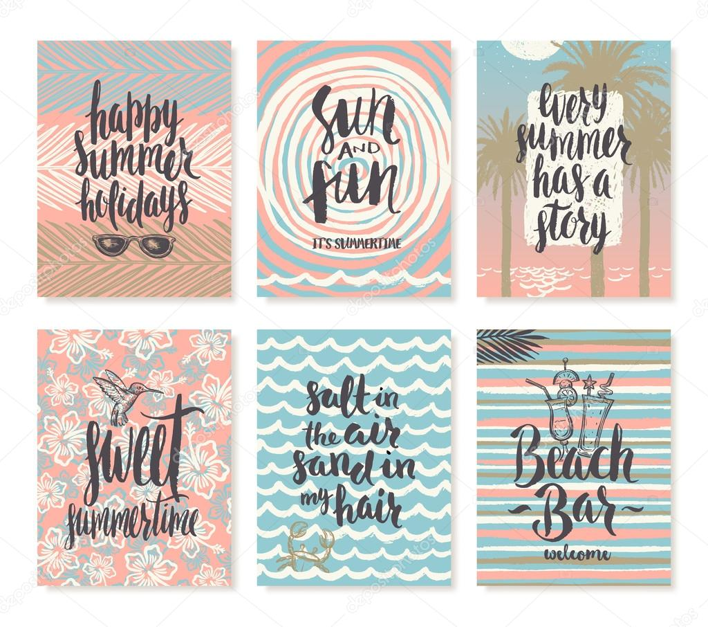Set Os Summer Holidays And Tropical Vacation Hand Drawn Posters Or Greeting  Card With Handwritten Calligraphy Quotes, Phrase And Words.
