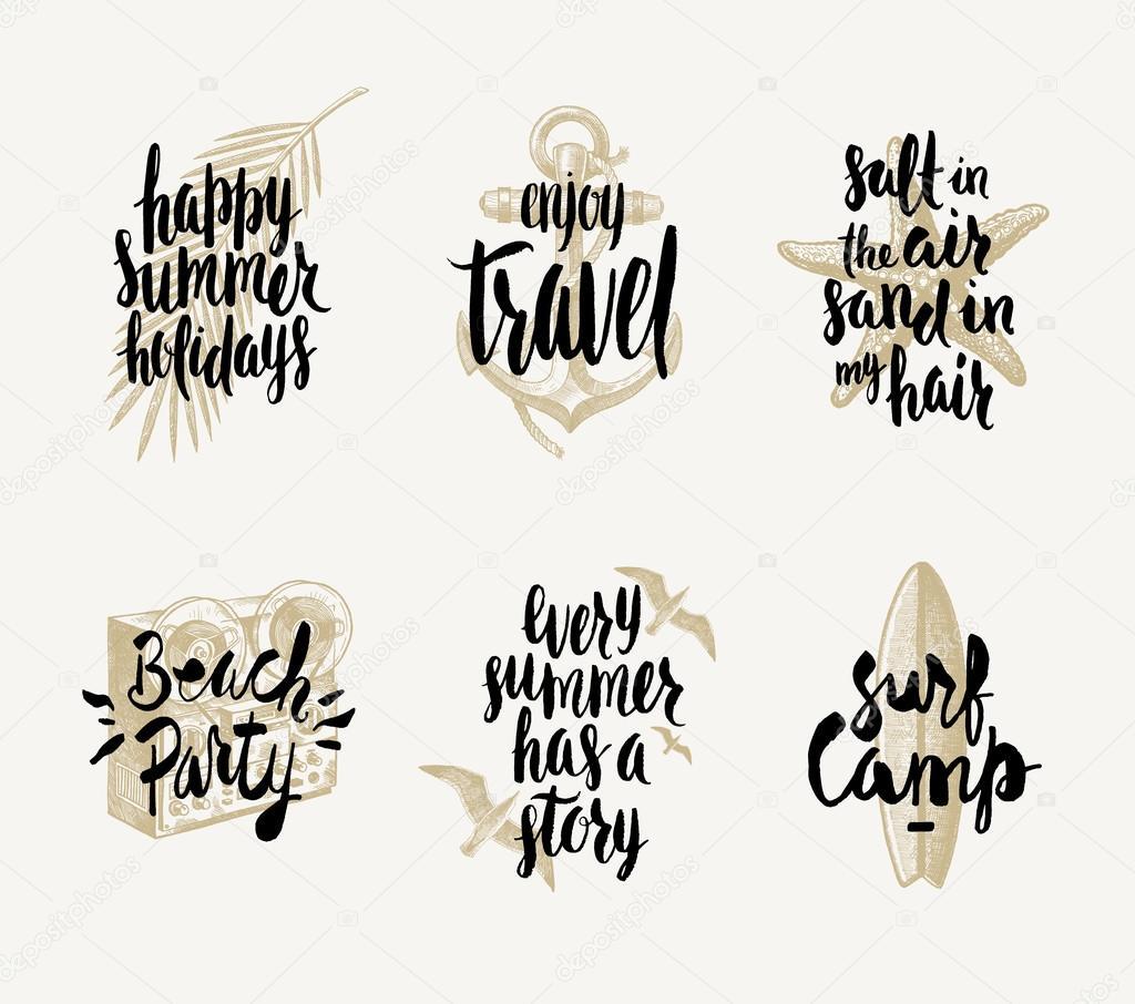set of summer holidays and tropical vacation hand drawn vector
