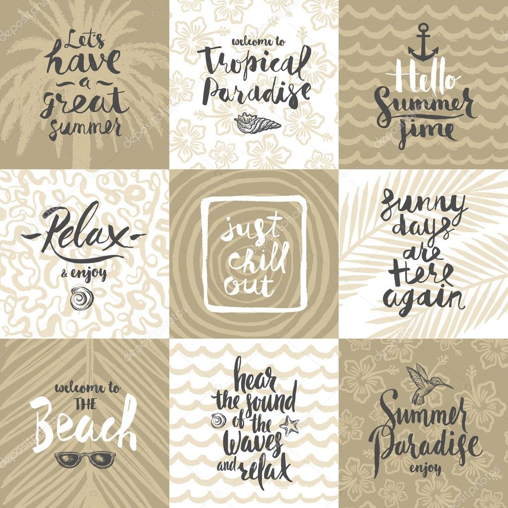 Set of summer holidays and tropical vacation hand drawn posters or set of summer holidays and tropical vacation hand drawn posters or greeting card with handwritten calligraphy quotes phrase and words m4hsunfo