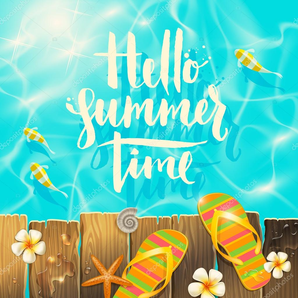 Hello Summer Time Handwritten Quote Calligraphy Tropical Flowers