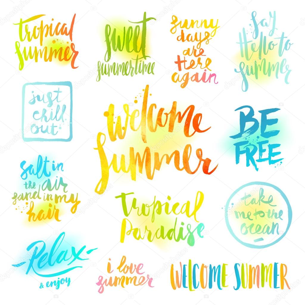 Vector Set Of Hand Drawn Calligraphy Summer Holidays And Vacation Greetings Quotes Phrases
