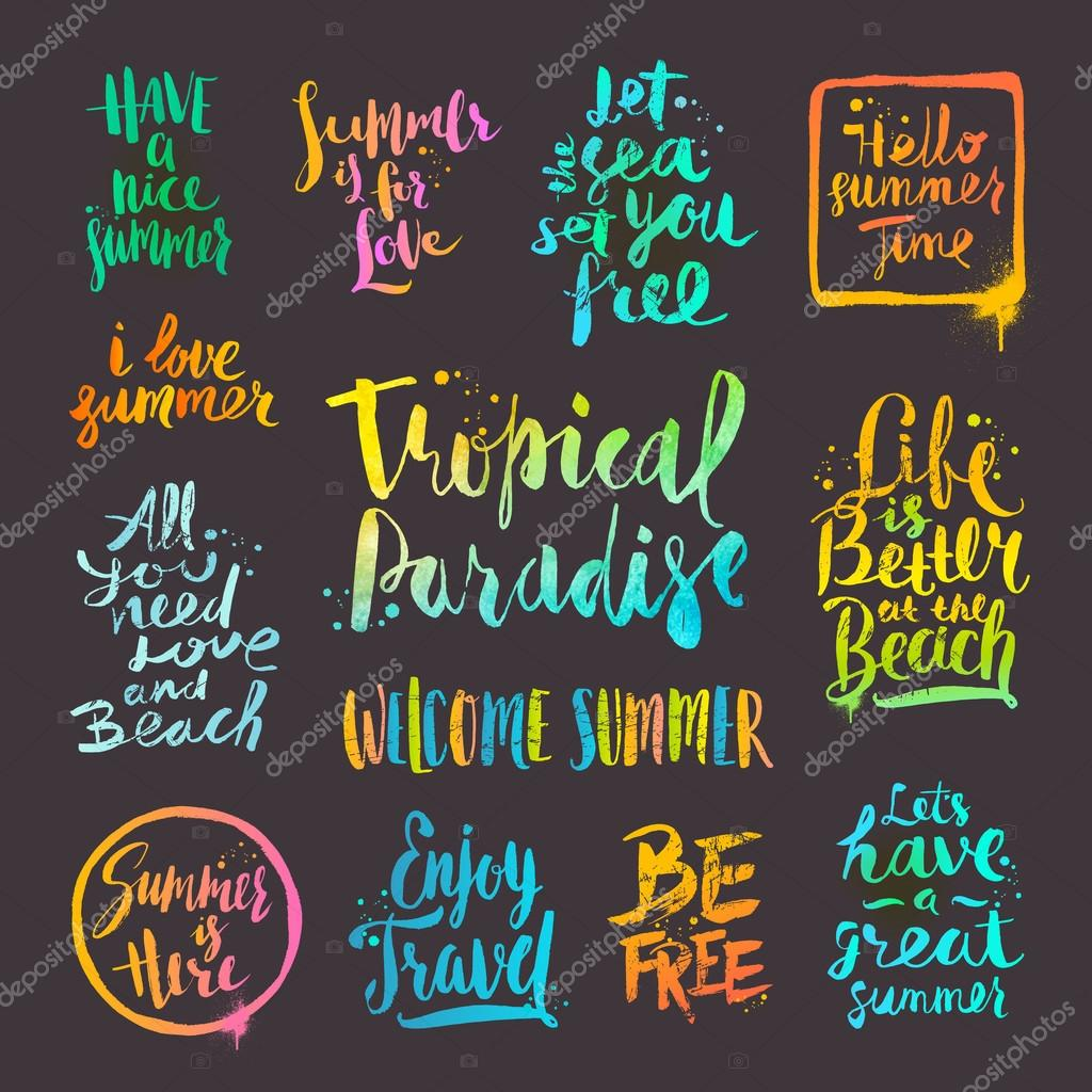 Summer holidays and vacation quotes phrases and greetings vector summer holidays and vacation quotes phrases and greetings vector set of hand drawn calligraphy m4hsunfo