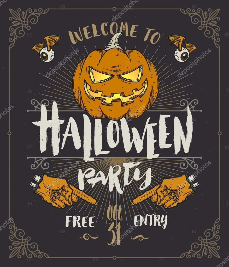 Pster de halloween ou convite ilustrao vetorial com mo pster de halloween ou convite ilustrao vetorial com mo desenhada escova tipo projeto e linha stopboris Gallery