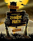 Halloween vektoros illusztráció - Holtak fegyvert a földről, pályázati zombi fél
