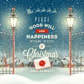 Fotografie Vánoční pozdrav typ konstrukce s vintage pouliční lucernou proti večer venkova Zimní krajina - svátky vektorové ilustrace