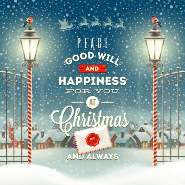 Christmas greeting type design with vintage street lantern against a evening rural winter landscape - holidays vector illustration stock vector