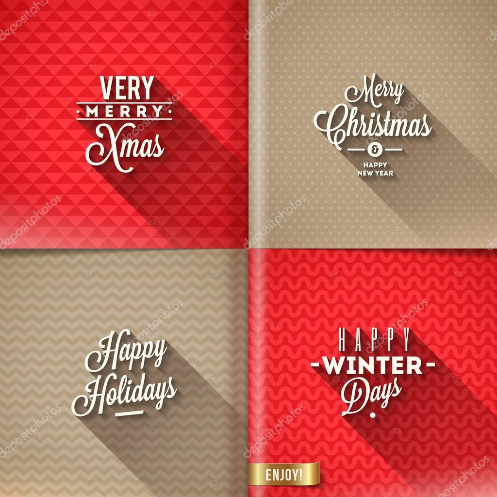 Set of Christmas type design with long shadow on a different backgrounds - vector illustration
