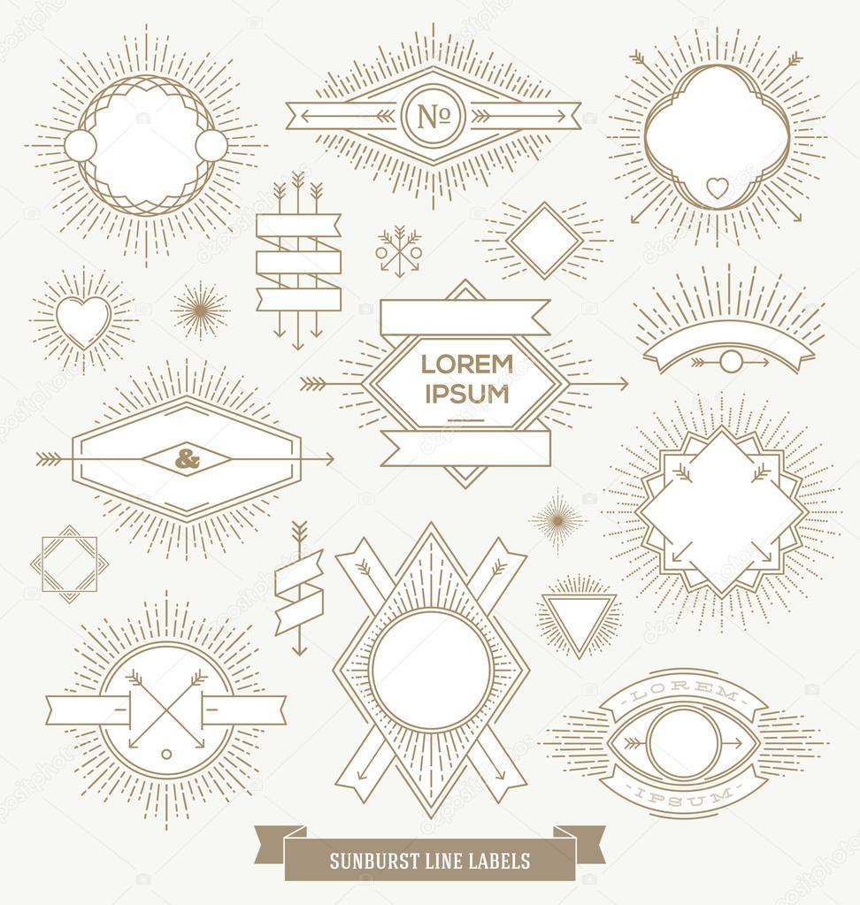 Vector set of line design emblem, sign and hipster labels with sunburst rays