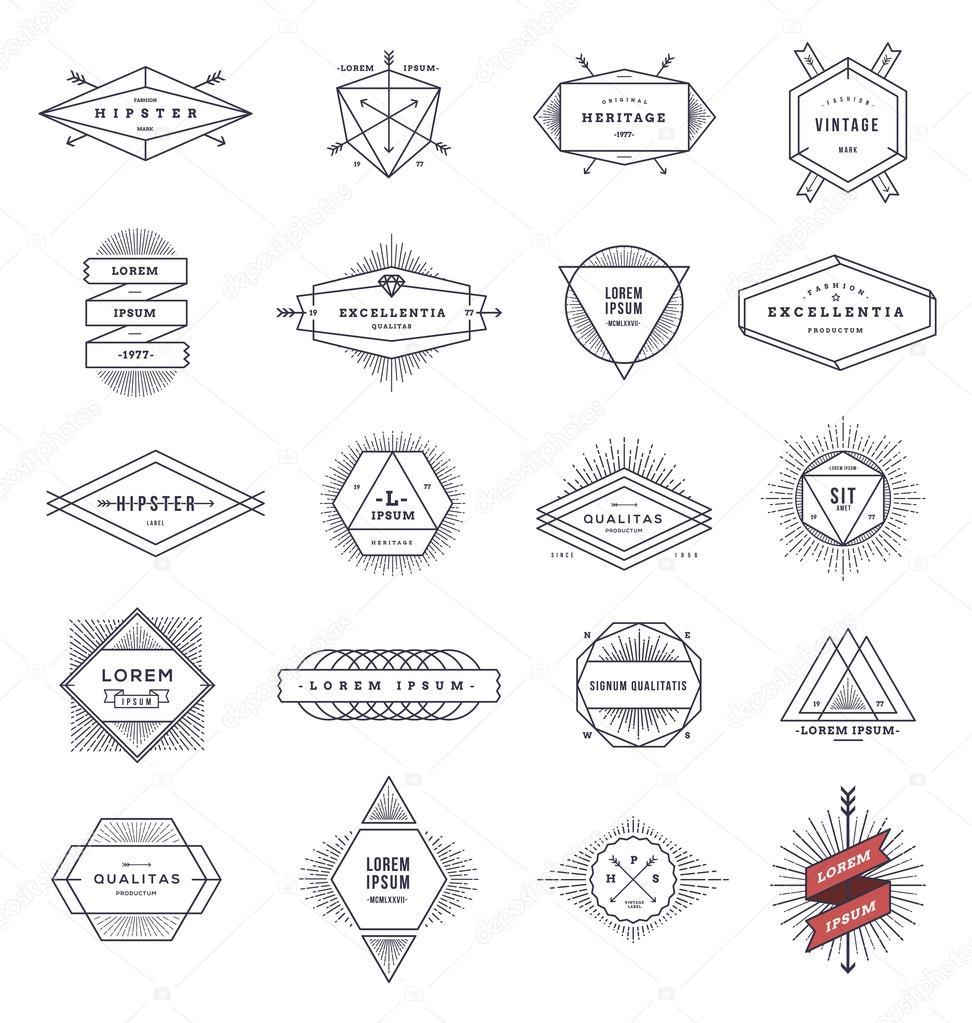 Set of hipster line emblems and signs with sunburst - vector illustration