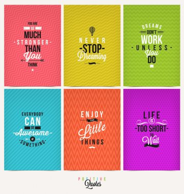 Set of Positive Quote Typographical Background - vector design stock vector