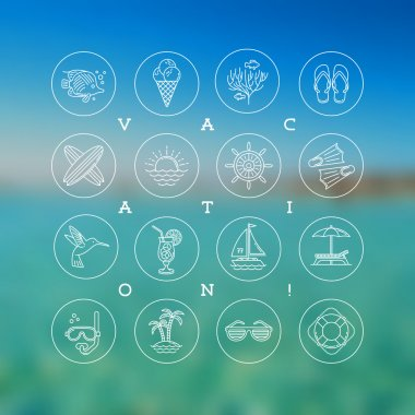 Line drawing vector icons - Summer vacation, holidays and travel signs and symbols