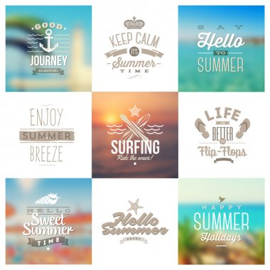 Vector set of travel and vacation type emblems and symbols on a defocused backgrounds