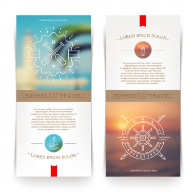 Vector vertical banners with line drawing Nautical and travel signs and emblems