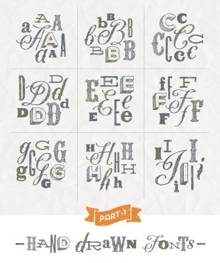 Vector set of Hand drawn different fonts for a headlines - Part one