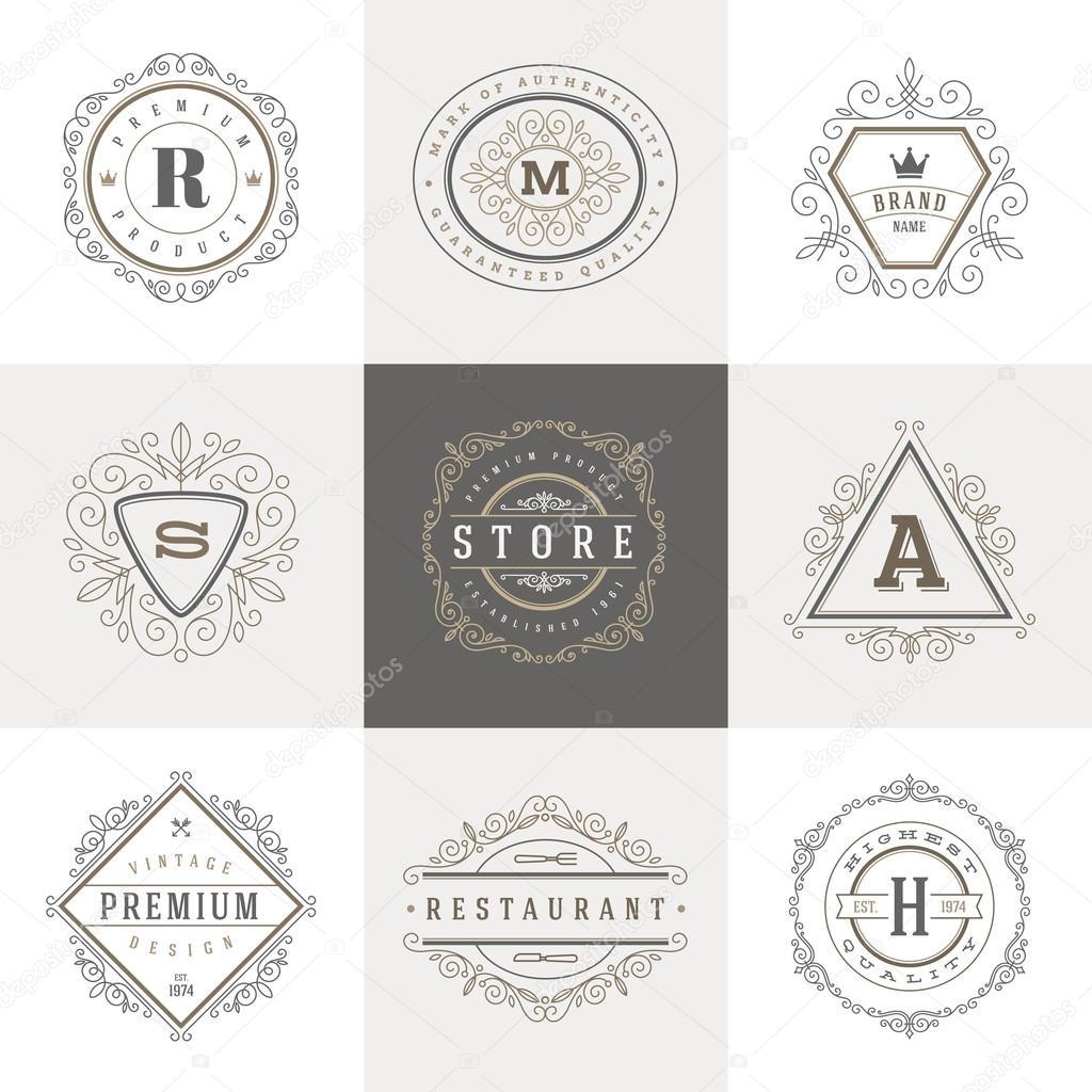 Monogramm-Logo-Vorlage mit blüht kalligraphische elegante Schmuck ...