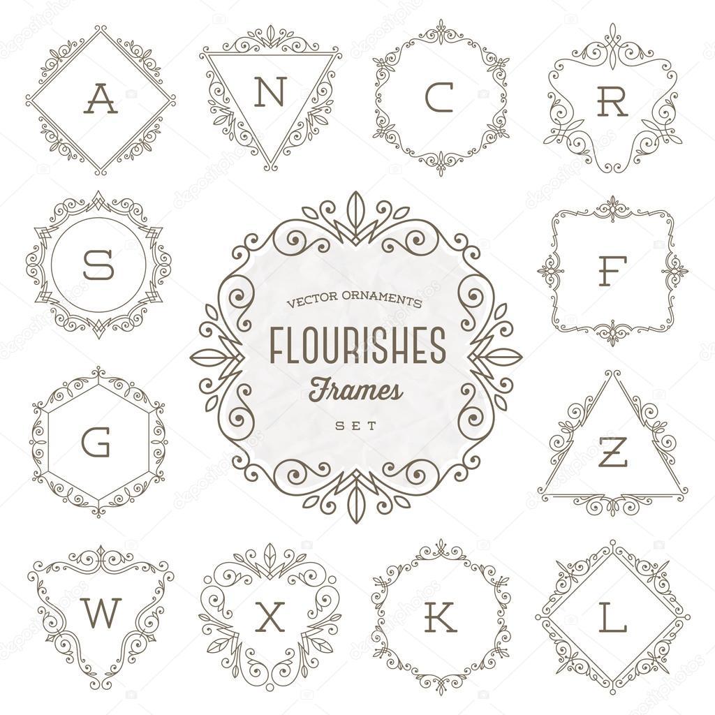 Conjunto de plantilla de logotipo monograma con florituras ornamento ...