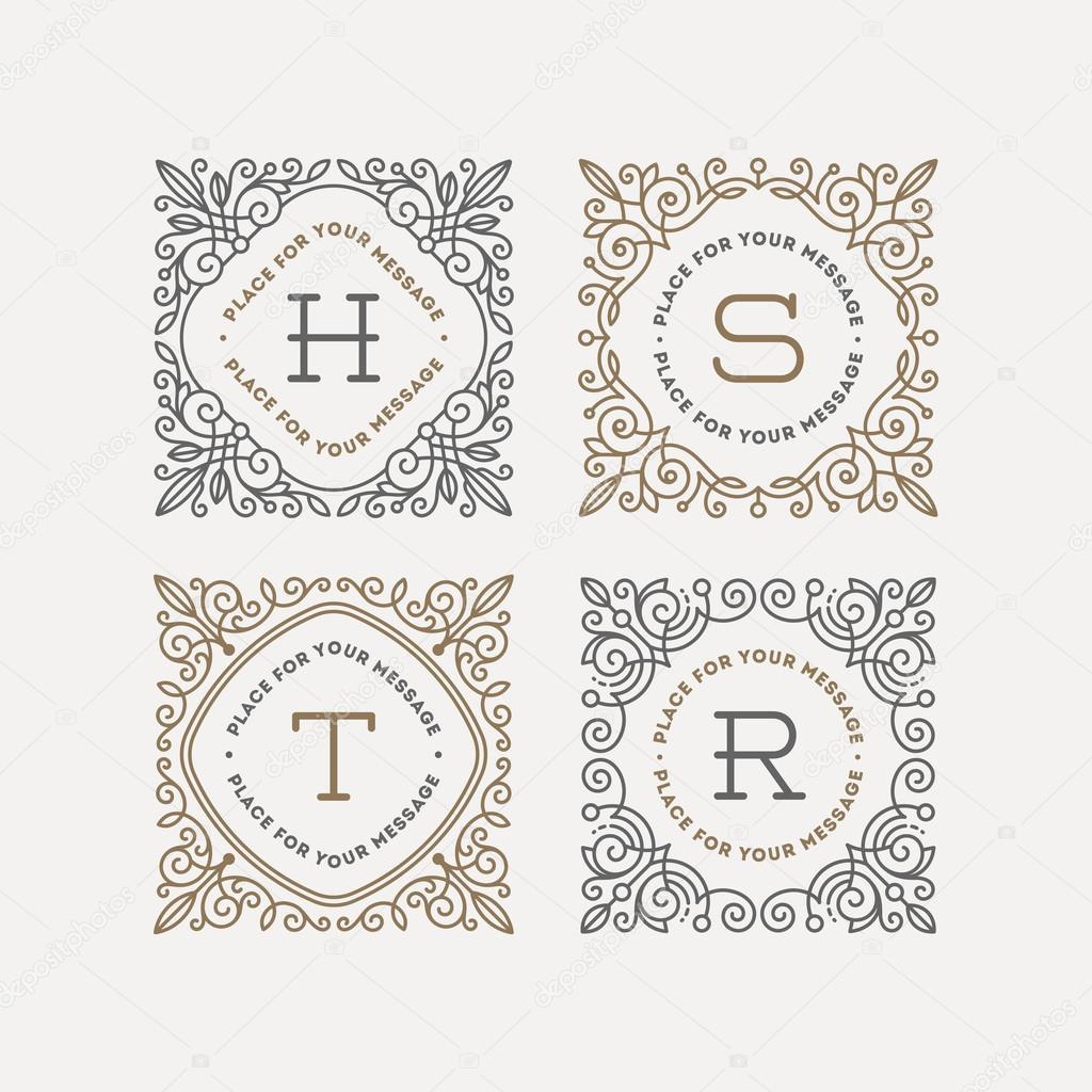 Conjunto de plantilla de logotipo monograma con florece Marcos ...