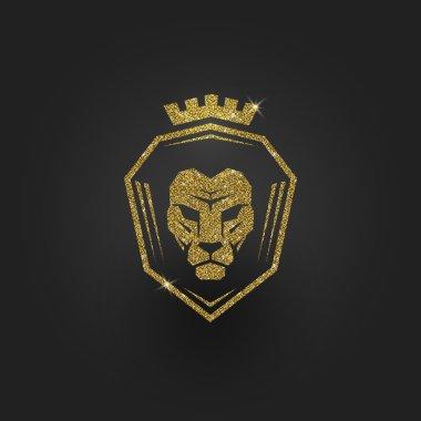 Glitter gold lion logo - vector illustration