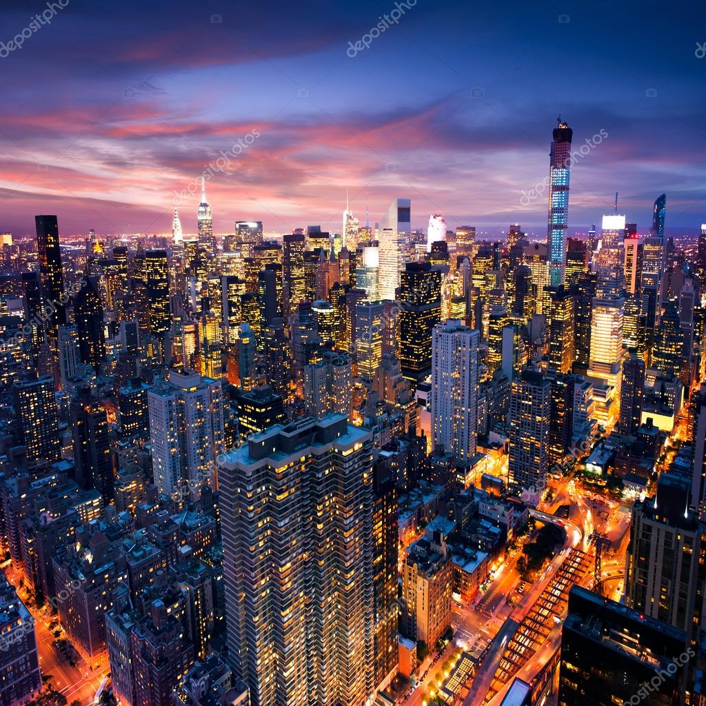 New york city beautiful colorful sunset over manhattan for New york city beautiful