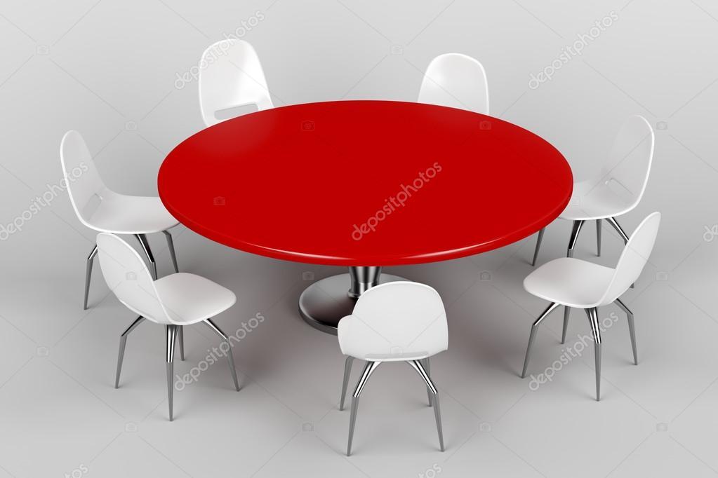 Rode ronde tafel en witte stoelen u2014 stockfoto © magraphics #69087841
