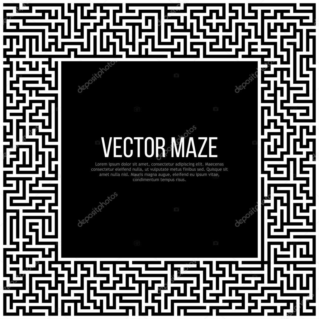 Laberinto con entrada y salida y el marco — Vector de stock ...