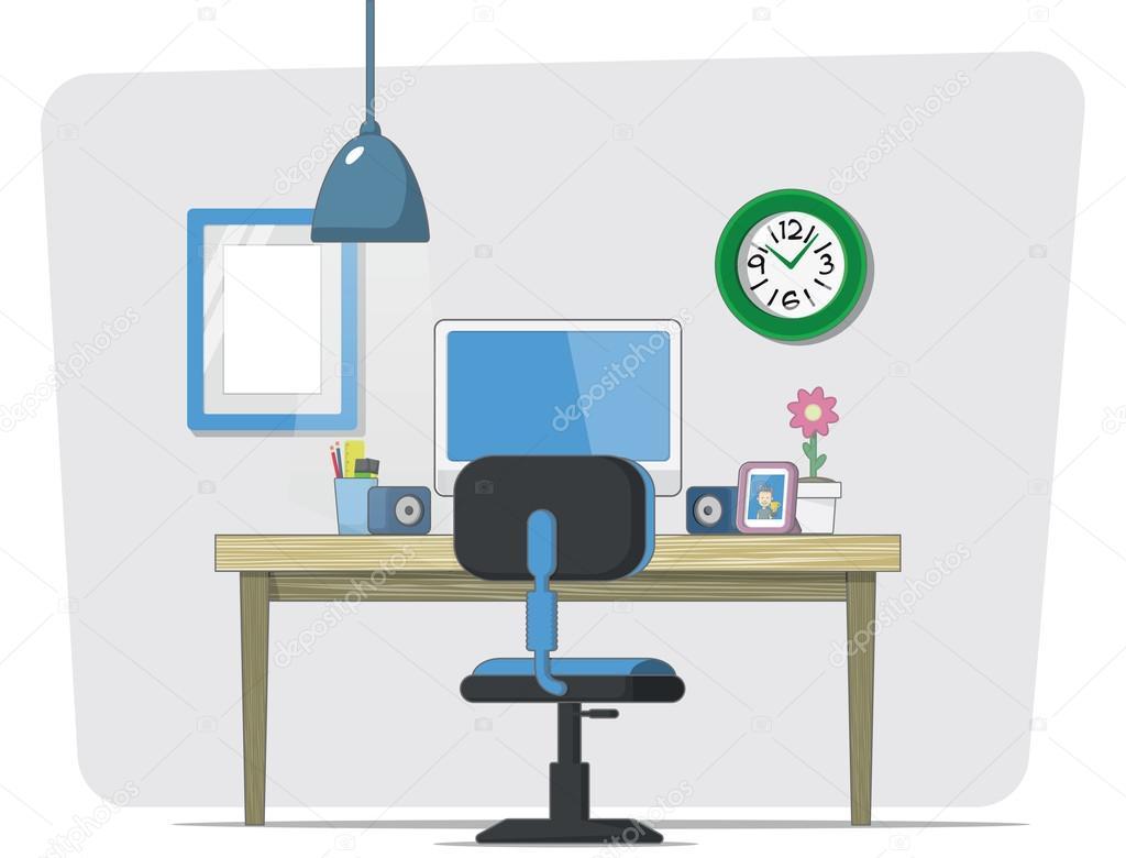 Espacio de trabajo de dibujos animados vector vector de for Imagenes de oficina de trabajo