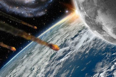 Asteroids flying over planet earth