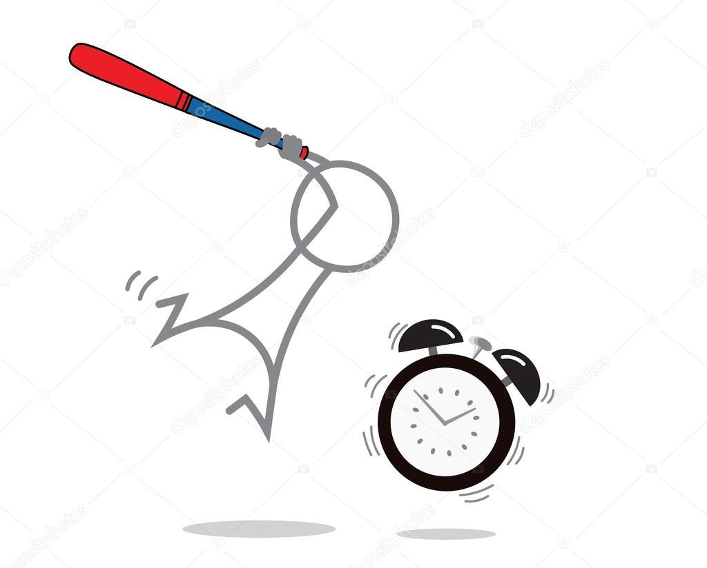 c1a5de81e6c Doodle homem lutando contra o relógio despertador — Vetor de zzoplanet