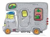 karavany - obytné - kreslený