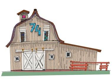 traditional barn - cartoon