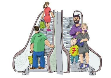 happy family at escalator