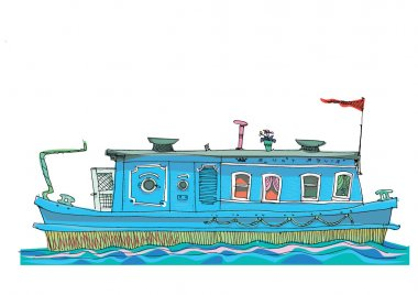 leisure barge - cartoon