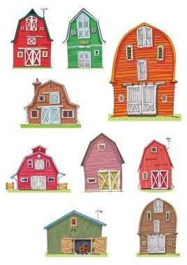 set of vintage barns